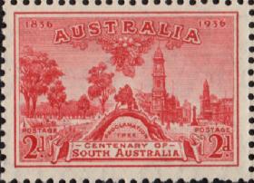 英联邦邮票,澳大利亚1936年南澳大利亚百年 阿德莱德公告树 景观