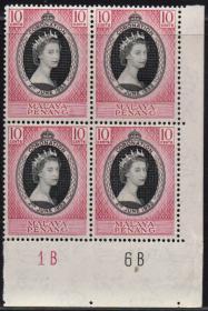 英联邦邮票,马来亚槟榔屿1953年伊丽莎白二世女王加冕,1全,1枚