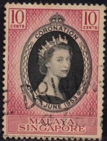 英联邦邮票,马来亚新加坡1953年伊丽莎白二世女王加冕,信销1全3