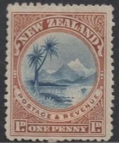 英联邦邮票J,新西兰1898年陶泊湖, 1p,自然风光