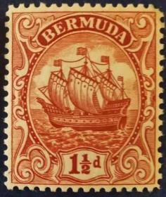 英联邦邮票H,英属百慕大1934年16世纪小吨位轻快帆船,1½d