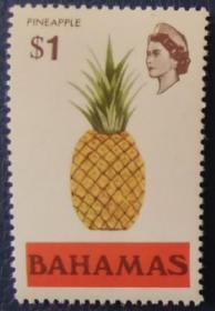 英联邦邮票H,巴哈马1971年地方风物,热带水果菠萝,高值