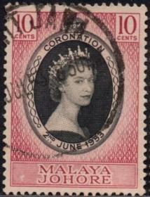 英联邦邮票,马来亚柔佛州1953年伊丽莎白二世女王加冕,1全信销3