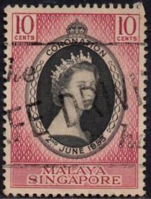 英联邦邮票,马来亚新加坡1953年伊丽莎白二世女王加冕,1全信销2