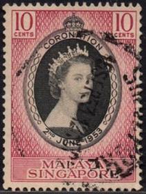 英联邦邮票,马来亚新加坡1953年伊丽莎白二世女王加冕,信销1全7
