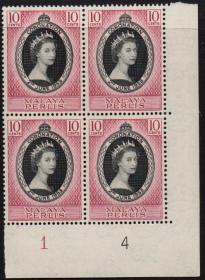 英联邦邮票,马来亚玻璃市州1953年伊丽莎白二世女王加冕,1全1枚