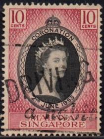 英联邦邮票,马来亚新加坡1953年伊丽莎白二世女王加冕、信销1全5