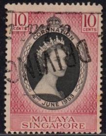 英联邦邮票,马来亚新加坡1953年伊丽莎白二世女王加冕、信销1全6