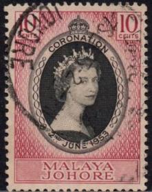 英联邦邮票,马来亚柔佛州1953年伊丽莎白二世女王加冕,信销1全7