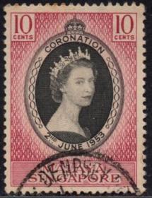 英联邦邮票,马来亚新加坡1953年伊丽莎白二世女王加冕,1全信销9