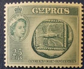 英联邦邮票G,英属塞浦路斯1955年帕福斯的古代硬币