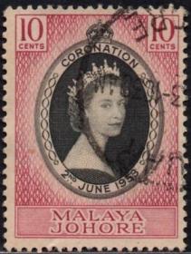 英联邦邮票,马来亚柔佛州1953年伊丽莎白二世女王加冕,1全信销