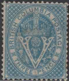 英联邦邮票J,英属哥伦比亚1865年纹章,维多利亚女王王冠,1全