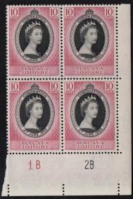 英联邦邮票,马来亚柔佛州1953年伊丽莎白二世女王加冕,1全,1枚