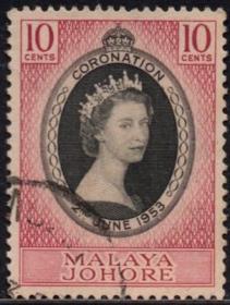 英联邦邮票,马来亚柔佛州1953年伊丽莎白二世女王加冕,1全信销2