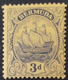 英联邦邮票H,英属百慕大1924年16世纪小吨位轻快帆船,3d