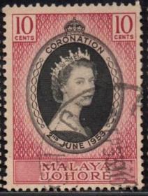 英联邦邮票,马来亚柔佛州1953年伊丽莎白二世女王加冕,信销1全2