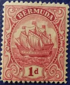 英联邦邮票 I, 百慕大1919年帆船1p,16世纪小吨位轻快帆船,新