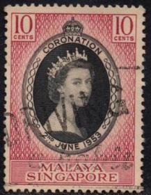 英联邦邮票,马来亚新加坡1953年伊丽莎白二世女王加冕,1全信销q