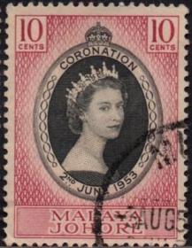 英联邦邮票,马来亚柔佛州1953年伊丽莎白二世女王加冕,1全信销7