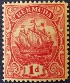 英联邦邮票H,英属百慕大1928年16世纪小吨位轻快帆船,1d