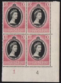 英联邦邮票,马来亚吉兰丹兰1953年伊丽莎白二世女王加冕,1全1枚