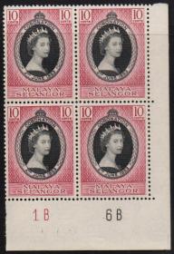 英联邦邮票,马来亚雪兰莪1953年伊丽莎白二世女王加冕,1全,1枚