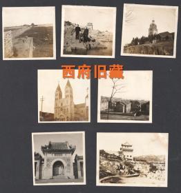 新中国初或民国老照片,青岛海滨,青岛天主教堂,湛山寺等老照片7张