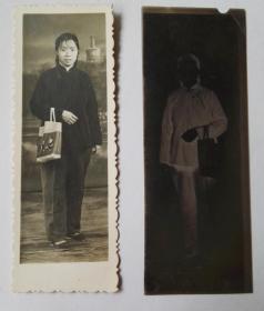 五十年代,具有时代特色的手提袋女士人像(附原底片合售),书签式老照片