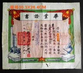 1952年,吉林长春市农安县四区完全小学毕业证书,背部有黏贴