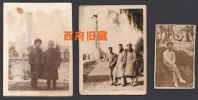 1949年9月新中国成立前夕和初期,长春胜利公园和长春人民广场留念老照片3张