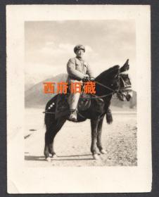 1955年,西藏日喀则军人留念老照片,非常有特色的是坐骑是一头驴骡,驴骡善于爬山