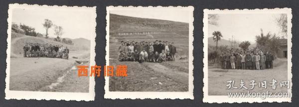 提高警惕,保卫祖国,要准备打仗,十三连在山坡上的标语,合影照3张