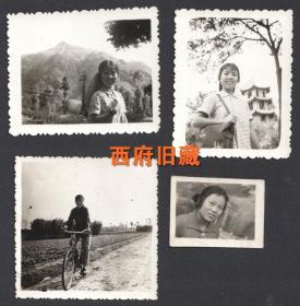 1975年前后,背着草帽,骑自行车,杜甫草堂留念,一个文革下乡女孩儿的老照片4张