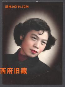 五十年代或民国,手工上色女士人像老照片,细腻生动,上色技术非常好
