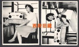 八十年代初,收录机、吉他,时尚的烫发女士人像2张