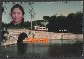六七十年代,手工上色杭州西湖留念照,少见的老式公共汽车与城市地标,特色老照片