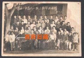 1981年,彭山县第一中学毕业合影老照片,品弱