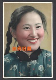 五十年代,手工上色老照片,麻花辫子姑娘,早期精品老照片