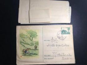 """普9型天安门美术邮资封(2-1957牧牛图),1958""""湖南耒阳-灶市""""戳,带信"""