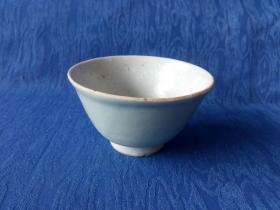 清代嘉庆道光景德镇画押款豆腐款豆青釉茶碗 光润如玉赏心悦目单色釉瓷器
