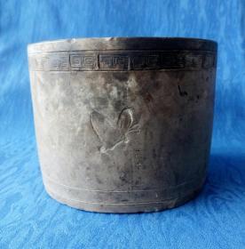 民国蛐蛐罐【砂好】陶塑浮雕龙纹底款 明代风格行走的龙