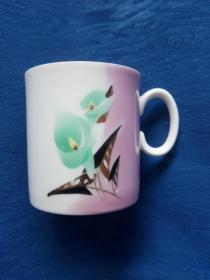 80年代唐山瓷底款刷花玫瑰描金端把直桶式茶碗【三雅道茶道香道花道】家庭陈设