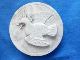 建国初期50年代手工雕刻浮雕汉白玉和平鸽摆件 有重大纪念意义的高档奢侈品