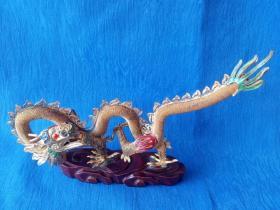 创汇期70年代手工蕾丝镂空景泰蓝珐琅工艺铜鎏金生肖辰龙巨龙腾飞飞龙在天吉祥摆件