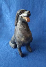 民国手工雕刻生肖戌狗大漆黑漆吉祥木雕犬 狗摆件 人类忠实的朋友