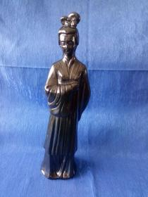创汇期7-80年代淄博瓷黑釉人物瓷塑摆件千古第一才女宋代女诗人李清照