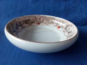 世界之窗-民国粉彩手绘水果草莓日本直沿描金白瓷盘五个老的铜锯子生活老物件饮食文化
