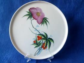 创汇期50年代景德镇窑粉彩手绘折纸花卉赏盘 完美奢侈品