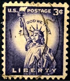 邮票,老邮票,自由女神邮票,美国邮票1954年自由女神像雕版邮票信销 !正品保真,非常稀有难得,意义深远,可谓古邮票收藏的珍品,孤品,神品